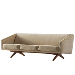 Illum Wikkelsø Three-Seat Sofa in Beige Fabric Upholstery