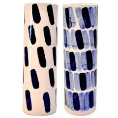 Pair of Rhythm Vases by Isabel Halley, in Dyed Pink Porcelain with Cobalt Glaze