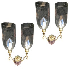 Pair of Early Anglo-Indian Double Shell Sconces with Glass Globes