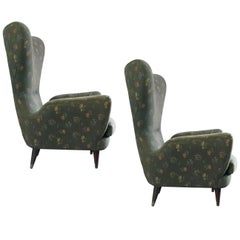 Pair of Italian Armchairs Original Fabric 'for Re-Upholstery', 1950s