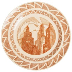 Important Art Deco Skyscraper Plate, Gale Turnbull for Leigh Potters, circa 1929