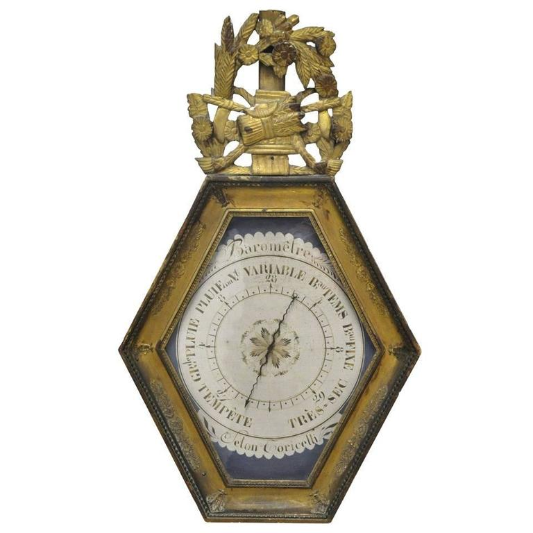 18th Century French Louis XVI Carved Giltwood Hexagonal Wall Barometer For Sale