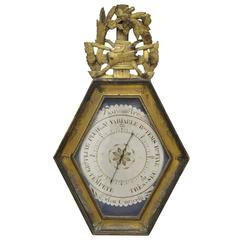 18th Century French Louis XVI Carved Giltwood Hexagonal Wall Barometer