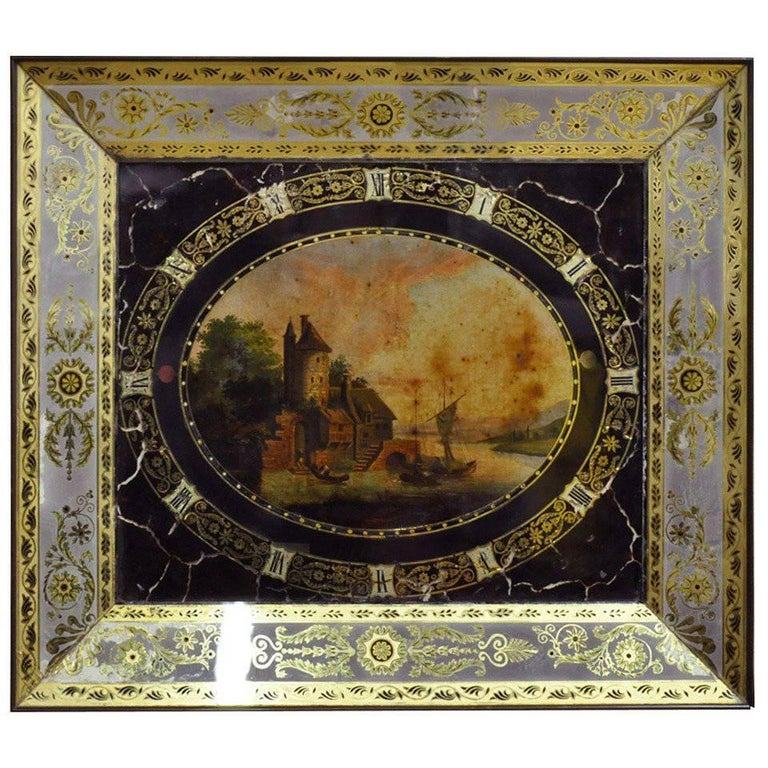 19th Century, French Napoleon III Hand-Painted Fixed Sous Verre Wall Clock