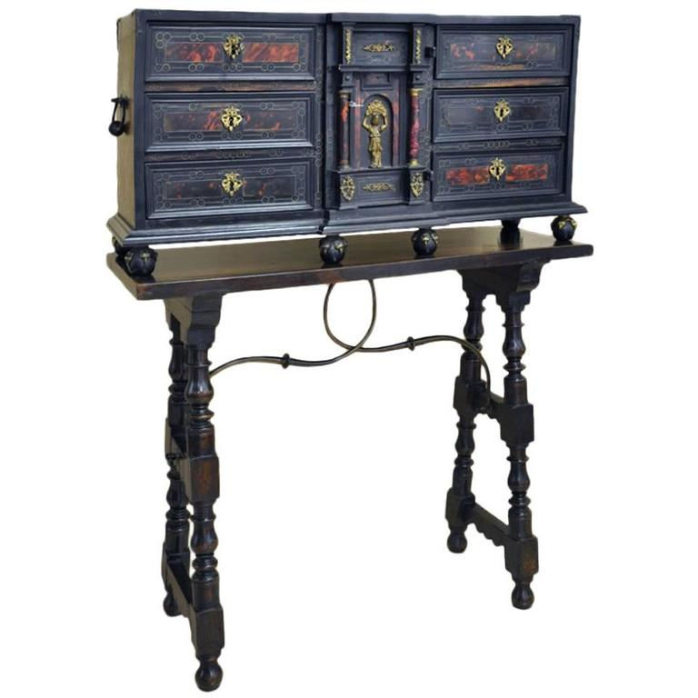 19th Century Spanish Walnut Bargueno Cabinet with Table Base and Iron Stretcher