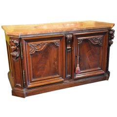 18th Century French Louis XIV Carved Walnut Buffet with Shaped Sink Marble Top