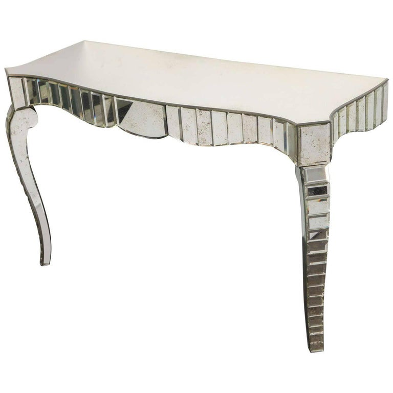 In the Manner of Serge Roche, Mirrored Glass Console, France, C. 1950 For Sale