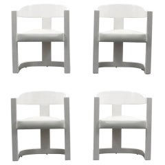 "Karl Springer ""Onassis"" Armchairs or Dining Chairs, Set of Four"