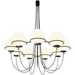 Very Large Italian Sarfatti Style Chandelier with Nine 12 inch Glass Globes
