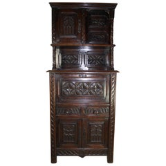 Gothic Revival Carved Walnut Cabinet, circa 1900
