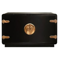 Black Lacquered Credenza with Brass Hardware by Mastercraft