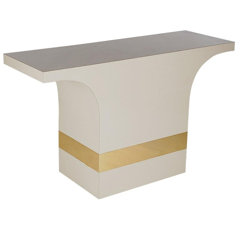 Hollywood Regency Off-White and Brass Console or Sofa Table After Pierre Cardin