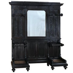 19th Century Italian Walnut Renaissance Hall Tree
