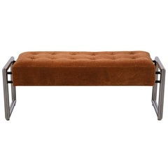 Stylish 1960s Tufted Chrome Bench