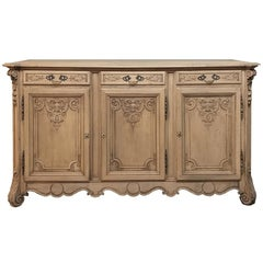 19th Century Country French Regence, Louis XV Stripped Oak Buffet