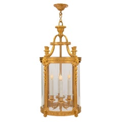 French 19th Century Louis XVI Style Ormolu and Handblown Glass Lantern