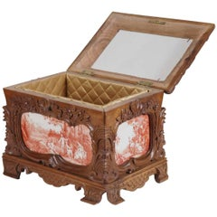 19th Century French Carved Jewelry Box with Hand-Painted Pastoral Scenes Tiles