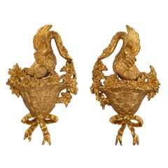 True Pair of Italian Louis XVI Style Carved Giltwood Wall Decor