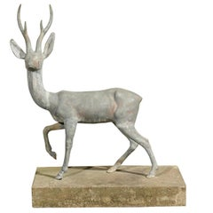 Charming Zinc Deer on Cast Base