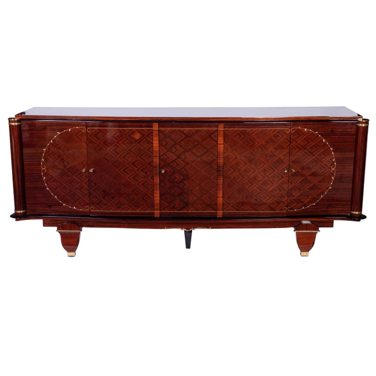 Exquisite French Art Deco Sideboard Credenza in Rosewood by Jules Leleu