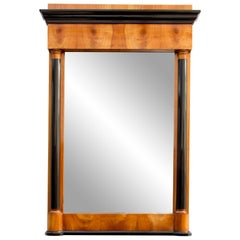 19th Century, Biedermeier Cherrywood Pillar Mirror