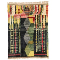 Contemporary Abstract Moroccan Rug with Modern Memphis-Bauhaus Style