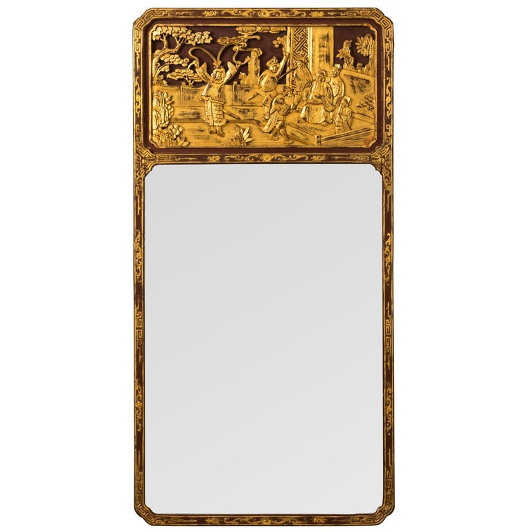Mirror with Carved Oriental Panel