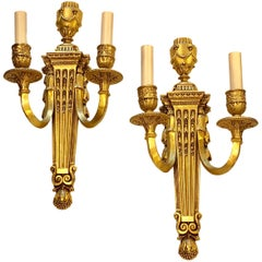Pair of Neoclassic Gilt Caldwell Sconces