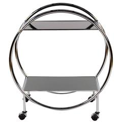Vintage Italian Chrome and Glass Bar Cart, 1970s