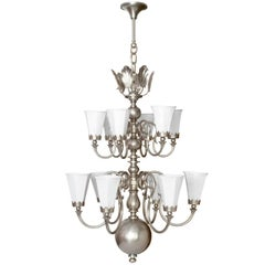 Large Scandinavian Modern Chandelier with 12 Arms in Nickel-Plated Brass