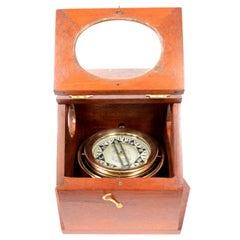 Rare Mahogany Wood Binnacle Compass, circa 1896
