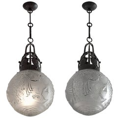 Muller Freres or Fag French Art Deco Pair of Chandeliers, 1925