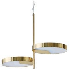 Moonlight Two-Light Brass Ceiling Lamp by Matteo Zorzenoni