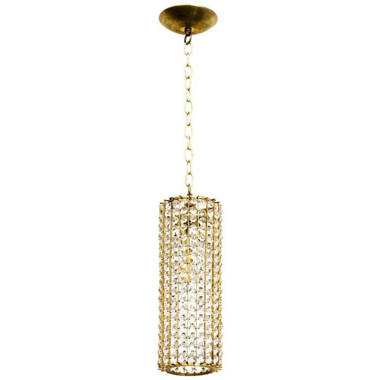 1960s German Faceted Crystal Pendant Chandelier