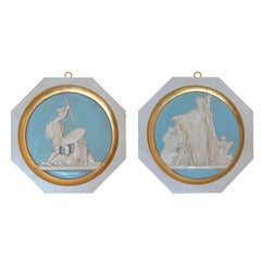 Pair of Bas-Reliefs Scagliola Wall Medallions Gold Leaf Details