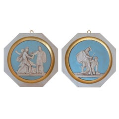 Pair of Bas-Reliefs Wall Medallions Scagliola and Gold Leaf