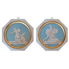 Greek Warriors Pair of Bas-Reliefs Wall Medallions Scagliola and Gold Leaf