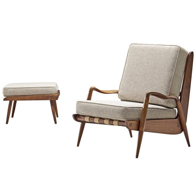 Rare Phillip Lloyd Powell Lounge Chair and Ottoman