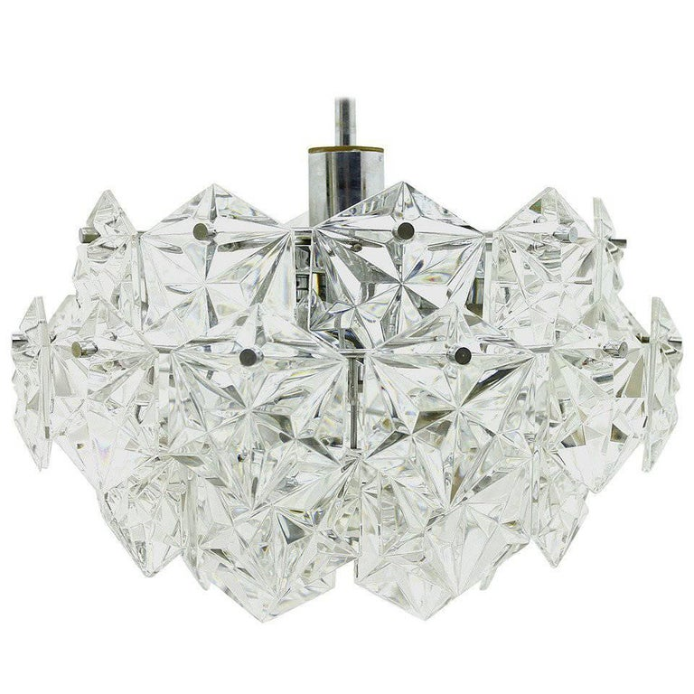 Four Tiers Crystal Glass Chandelier by Kinkeldey, 1960s