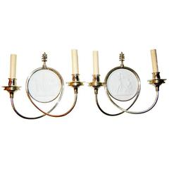 Silver Plated Neoclassic Sconces