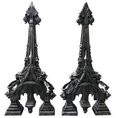 Pair of 19th Century English Polished Steel Gothic Style Andirons