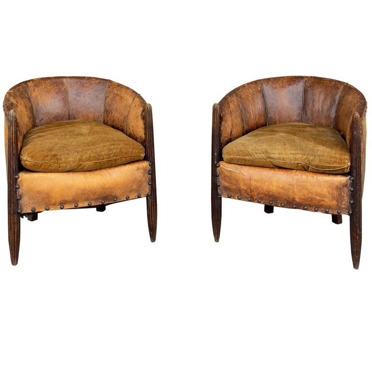 Antique French Leather and Velvet Barrel Back Chairs, Pair For Sale - Antique French Leather And Velvet Barrel Back Chairs, Pair For Sale