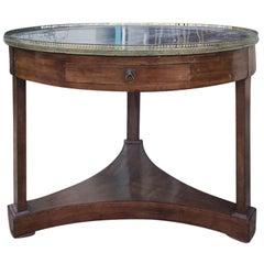 18th-19th Century Large French Mahogany Bouillotte Table with Black Marble Top
