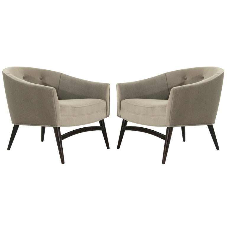 Pair of Italian Barrel Back Lounge Chairs, 1950s