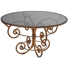 French Scrolling Gilded Iron Circular Centre Table with Black Glass Top