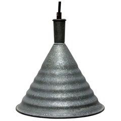 Gray Metal Vintage Industrial Pendant Lamps (3x)