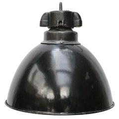 Black Enamel Vintage Industrial Bauhaus Pendant Lights 1930s (2x)