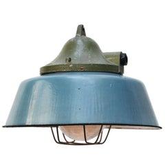 Petrol Enamel Cast Alu Vintage Industrial Factory Pendant Holophane Glass