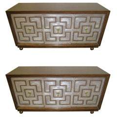 Stunning Pair of Parzinger Style Brass Studded Petite Credenza, Mid-Century