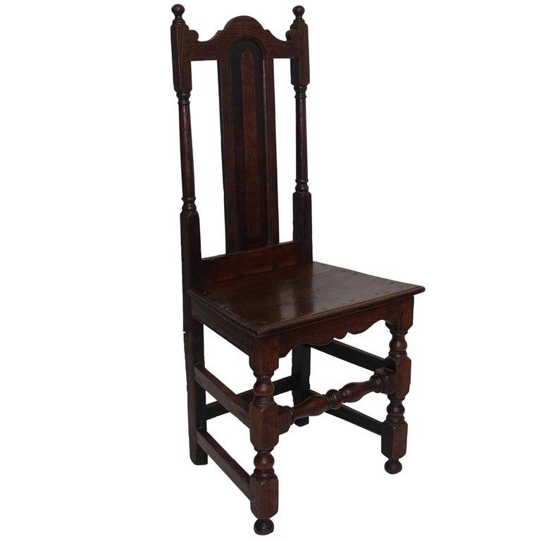 Oak Renaissance Side Chair or Desk Chair, English, circa 1730
